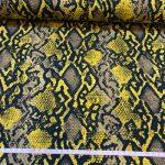 Bomullsjersey gul dyremønster