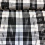 Rutete stoff svart/hvit tartan