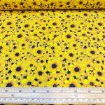 Fast bomull med gule blomster 12
